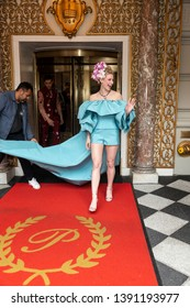 New York, NY - May 6, 2019: Cole Sprouse and Lili Reinhart wearing dress by Salvatore Ferragamo leave The Pierre Hotel for Met Gala on theme Camp: Notes on Fashion