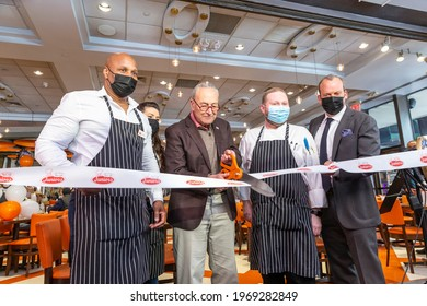 New York, NY - May 6, 2021: U. S. Senator Charles Schumer marks re-opening of Junior's Cheesecake restaurant on Times Square