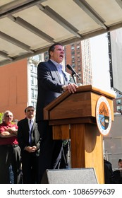 New York, NY - May 8, 2018: Governor Andrew Cuomo lent support for construction workes union rally at Union Square, BCTC announced organization endorsement for reelection Cuomo for governor
