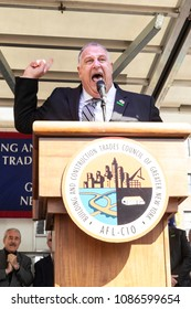 New York, NY - May 8, 2018: President of union Gary LaBarbera speaks at construction workes union rally at Union Square, BCTC announced organization endorsement for reelection Cuomo for governor