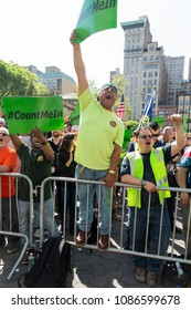 New York, NY - May 8, 2018: Construction workes union rally at Union Square, BCTC announced organization endorsement for reelection of Andrew Cuomo for governor
