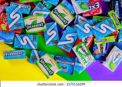 New York NY NOV 29 2019: Chewing gum various brands Orbit, Extra, Eclipse, Freedent, Wrigley Spearmint Trident Stride
