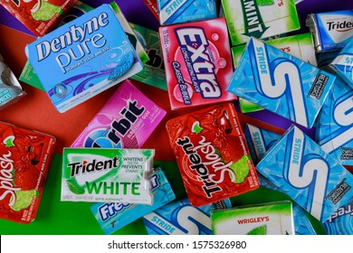 New York NY NOV 29 2019: Chewing gum various brands Orbit, Extra, Eclipse, Freedent, Wrigley, Spearmint, Trident, Stride