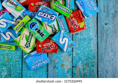 New York NY NOV 29 2019: Various chewing gums brands Orbit, Extra, Eclipse, Freedent, Wrigley, Spearmint, Tident, Stride lot of chewing gum packages