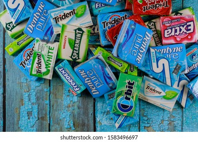 New York NY NOV 29 2019: Brands Orbit, Extra, Eclipse, Freedent, Wrigley, Spearmint Tident Stride Stride various brand chewing gum