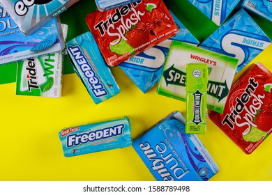 New York NY NOV 29 2019: Various brand chewing gum brands Orbit, Extra, Eclipse, Freedent, Wrigley, Spearmint, Trident, Stride lot of chewing gum packages