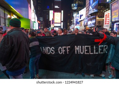 New York NY - Nov 8 2018: Thousands of people protest in solidarity with nationwide protests demanding Acting Attorney General Matthew Whitaker recuse from special counsel Russia probe at Times Square