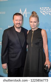 NEW YORK, NY - NOVEMBER 09: Honoree Ricky Gervais and Jane Fallon attend The Humane Society's 9th Annual to the Rescue! Gala at Cipriani 42nd Street on November 9, 2018 in New York City.