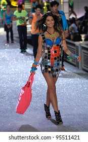 NEW YORK, NY - NOVEMBER 09: Model Lily Aldridge walks the runway during the 2011 Victoria's Secret Fashion Show at the Lexington Avenue Armory on November 9, 2011 in New York City.