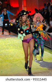 NEW YORK, NY - NOVEMBER 09: A Model walks the runway during the 2011 Victoria's Secret Fashion Show at the Lexington Avenue Armory on November 9, 2011 in New York City.