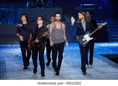 NEW YORK, NY - NOVEMBER 09: Members of Maroon 5 walks the runway during the 2011 Victoria's Secret Fashion Show at the Lexington Avenue Armory on November 9, 2011 in New York City.