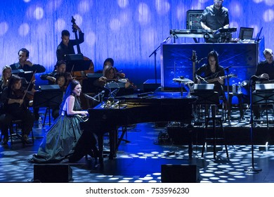 New York, NY - November 10, 2017: Evanescence rock band with orchestra performs at Kings Theater of Brooklyn