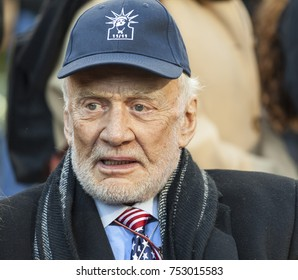 New York, NY - November 11, 2017: NASA astronaut grand marshal Buzz Aldrin attends ceremony for New York 99th annual Veterans Day Parade on Madison Square Park
