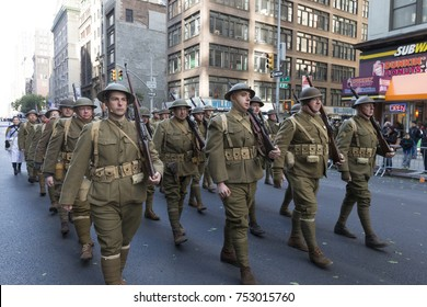 New York, NY - November 11, 2017: Atmosphere during New York 99th annual Veterans Day Parade on 5th Avenue