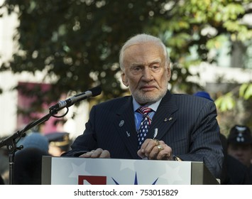 New York, NY - November 11, 2017: NASA astronaut grand marshal Buzz Aldrin speaks at ceremony for New York 99th annual Veterans Day Parade on Madison Square Park