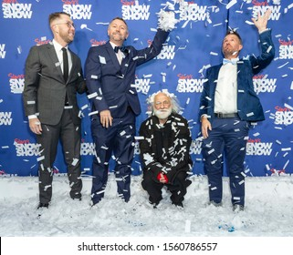 New York, NY - November 13, 2019: Hunter Arnold, David Carpenter, Slava Polunin, John Arthur Pinckard attend Slava's Snowshow opening night performance at Stephen Sondheim Theatre