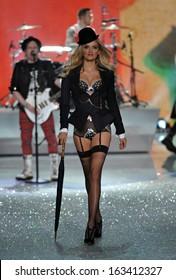 NEW YORK, NY - NOVEMBER 13: Model Lily Donaldson walks in the 2013 Victoria's Secret Fashion Show at Lexington Avenue Armory on November 13, 2013 in New York City.