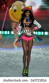 NEW YORK, NY - NOVEMBER 13: Model Jasmine Tookes walks the runway at the 2013 Victoria's Secret Fashion Show at Lexington Avenue Armory on November 13, 2013 in New York City.
