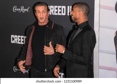 NEW YORK, NY - NOVEMBER 14: Sylvester Stallone and Michael B. Jordan attend 'Creed II' World Premiere at AMC Loews Lincoln Square on November 14, 2018 in New York City.
