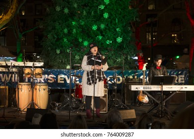 New York, NY - November 17, 2017: Metropolitan Opera Young Artist Development Program Gabriella Reyes de Ramirez performs during Winter's Eve at Lincoln Center: Tree lighting and food tasting