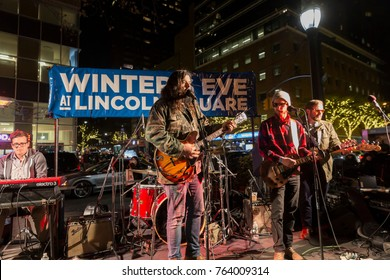 New York, NY - November 17, 2017: Rock band The National Reserve performs during Winter's Eve at Lincoln Center: Tree lighting and food tasting