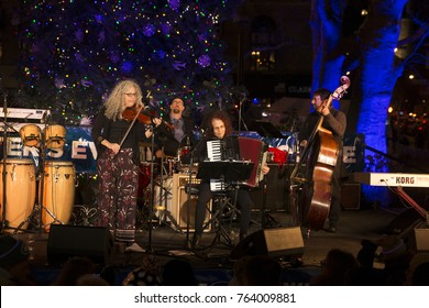 New York, NY - November 17, 2017: Alicia Svigals Klezmer Fiddle Express band performs during Winter's Eve at Lincoln Center: Tree lighting and food tasting