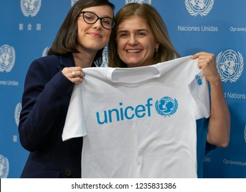 New York, NY - November 20, 2018: Millie Bobby Brown & Director of Communications for UNICEF Paloma Escudero pose during press briefing & appointment as UNICEF Goodwill Ambassador at UN Headquarters