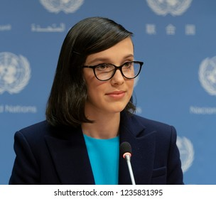 New York, NY - November 20, 2018: Millie Bobby Brown speaks during press briefing & appointment as UNICEF Goodwill Ambassador at UN Headquarters