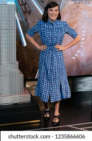 New York, NY - November 20, 2018: Millie Bobby Brown new UNICEF Goodwill Ambassador lights Empire State Building in blue to honor World Children's  Day at ESB Observatory