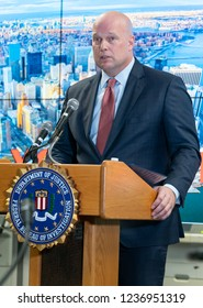 New York, NY - November 21, 2018: Acting Attorney General Matthew Whitaker delivers remarks to the Joint Terrorism Task Force at New York FBI field office