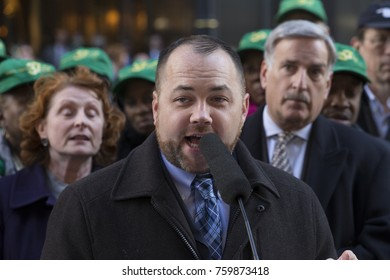 New York, NY - November 21, 2017: NYC concil member Corey Johnson speaks at rally against GOP tax bill in front of Trump Tower on 5th Avenue