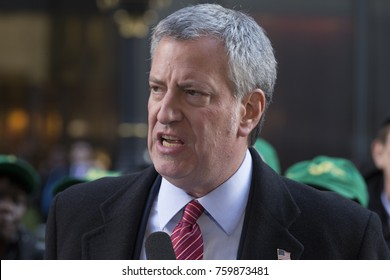 New York, NY - November 21, 2017: Mayor Bill de Blasio speaks at rally against GOP tax bill in front of Trump Tower on 5th Avenue