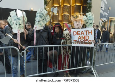 New York, NY - November 21, 2017: Senior citizens, NYC politicians joined for rally against GOP tax bill in front of Trump Tower on 5th Avenue