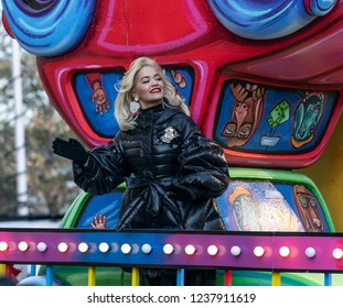 New York, NY - November 22, 2018: Rita Ora rides float at 92nd Annual Macy's Thanksgiving Day Parade on the streets of Manhattan in frigid weather