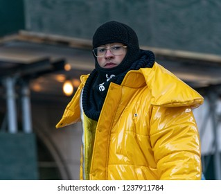 New York, NY - November 22, 2018: Bad Bunny rides float 92nd Annual Macy's Thanksgiving Day Parade on the streets of Manhattan in frigid weather