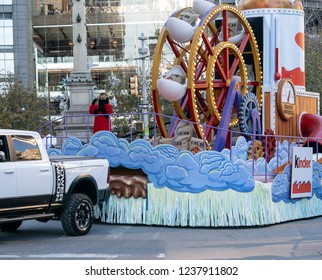 New York, NY - November 22, 2018: Ashley Tisdale rides float 92nd Annual Macy's Thanksgiving Day Parade on the streets of Manhattan in frigid weather