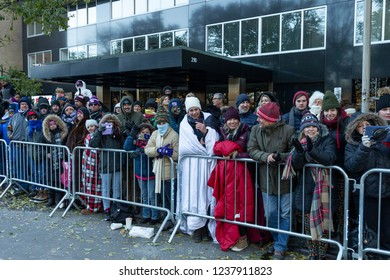 New York, NY - November 22, 2018: New Yorkers brave frigid weather to watch 92nd Annual Macy's Thanksgiving Day Parade on the streets of Manhattan