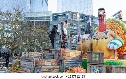 New York, NY - November 22, 2018: Kristian Bush & Jennifer Nettles of Sugarland ride float at 92nd Annual Macy's Thanksgiving Day Parade on the streets of Manhattan in frigid weather