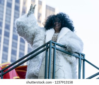 New York, NY - November 22, 2018: Diana Ross rides float at 92nd Annual Macy's Thanksgiving Day Parade on the streets of Manhattan in frigid weather