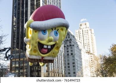 New York, NY - November 23, 2017: Spongebob Squarepants balloon floats during 91st Annual Macy's Thanksgiving Day parade along streets of Manhattan
