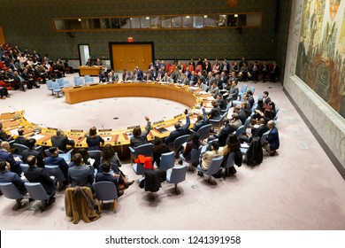 New York, NY - November 26, 2018: Absentee vote to adopt Russian agenda for Security Council meeting on situation in Ukraine at UN Headquarters