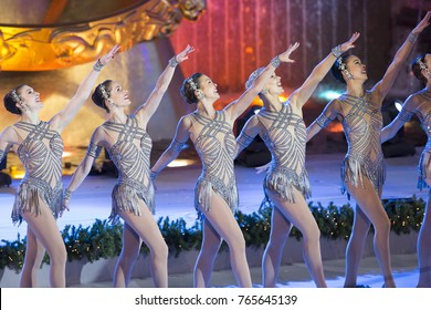 New York, NY - November 29, 2017: Radio City Rockettes perform during the 85th Rockefeller Center Christmas Tree Lighting at Rockefeller Center hosted by NBC