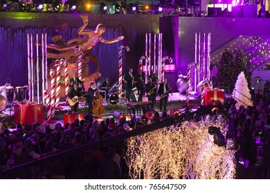 New York, NY - November 29, 2017: Singer Harry Connick Jr performs during the 85th Rockefeller Center Christmas Tree Lighting at Rockefeller Center hosted by NBC