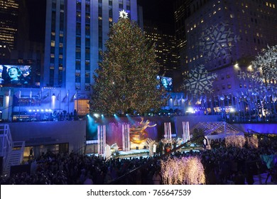 New York, NY - November 29, 2017: Atmosphere during the 85th Rockefeller Center Christmas Tree Lighting at Rockefeller Center hosted by NBC