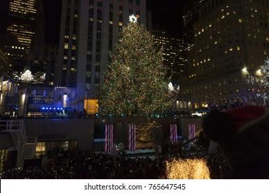 New York, NY - November 29, 2017: Christmas tree lit during the 85th Rockefeller Center Christmas Tree Lighting at Rockefeller Center hosted by NBC