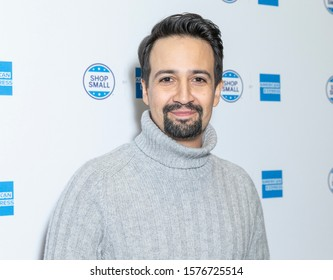 New York, NY - November 30, 2019: Lin-Manuel Miranda attends American Express interactive Main Street shop celebrating 10th annual small business Saturday at 632 Broadway