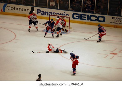 NEW YORK, NY - NOVEMBER 30: Stephen Weiss of the Florida Panthers goes down to block a shot by Paul Mara of the New York Rangers in a game at Madison Square Garden November 30, 2008 in New York, NY