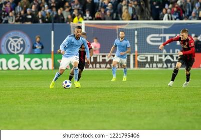 New York, NY - November 4, 2018: Yangel Herrera (30) of NYC FC controls ball during semifinal 1st leg of Audi MLS Cup against Atlanta United FC at Yankees stadium