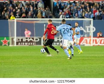 New York, NY - November 4, 2018: Julian Gressel (24) of Atlanta United FC controls ball during semifinal 1st leg of Audi MLS Cup against NYC FC at Yankees stadium