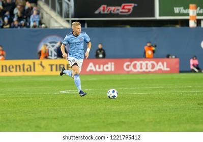 New York, NY - November 4, 2018: Anton Tinnerholm (3) of NYC FC controls ball during semifinal 1st leg of Audi MLS Cup against Atlanta United FC at Yankees stadium